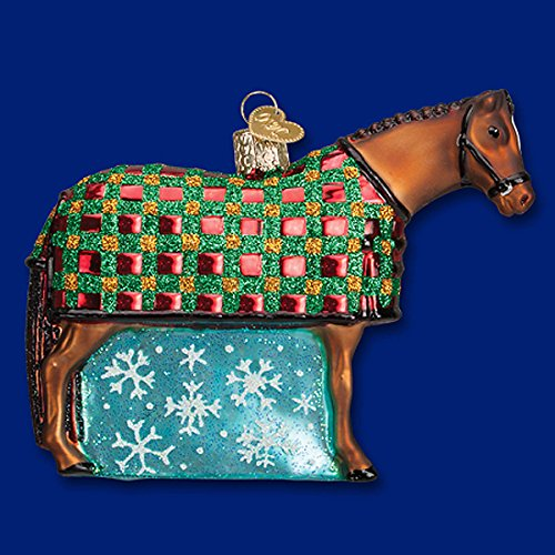 HORSE with quilted Blanket Glass Ornament Old World Christmas NEW IN BOX