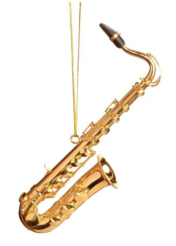Music Treasures Co. Gold Tenor Saxophone Christmas Ornament
