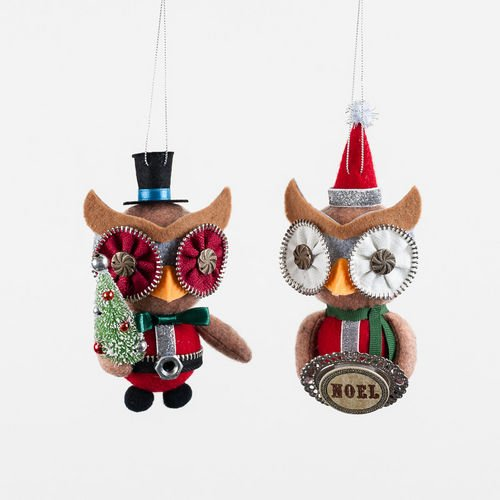 Zipper Owl Ornaments Set of 2 By One Hundred 80 Degrees