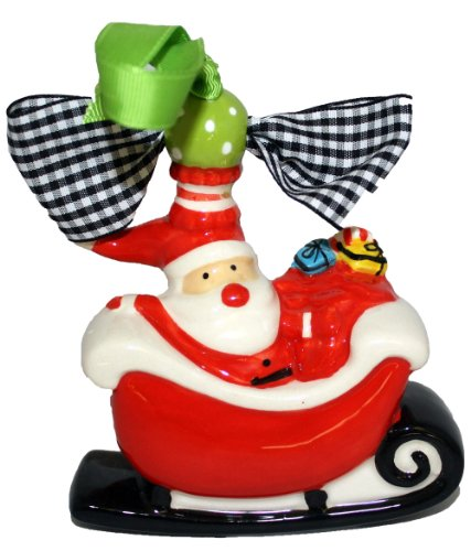 Mud Pie Santa Sled Ceramic Ornaments