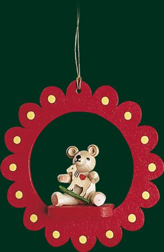 Hanging Christmas Tree Ornament Teddy with Horse, 3.4 Inches