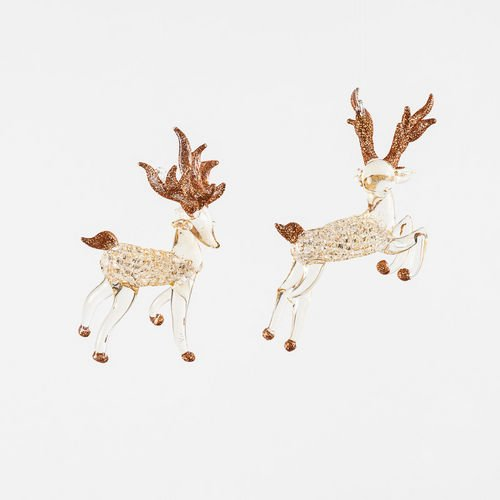 Glass Stag Ornament, Set of 2, By One Hundred 80 Degrees