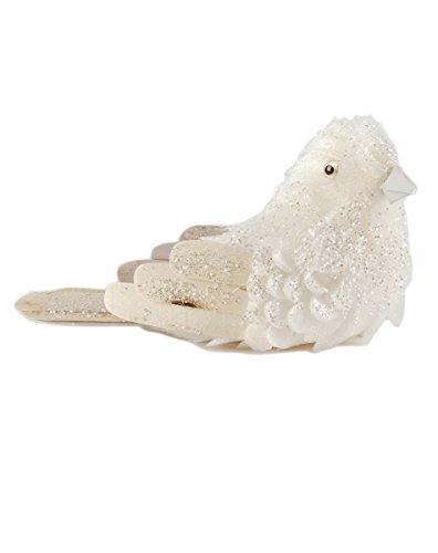 Blossom Bucket Bird Ornament, Right Facing, White