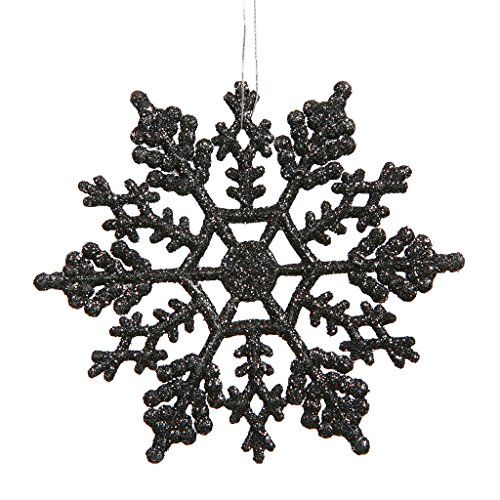 Vickerman 21451 – 4″ Black Glitter Snowflake Christmas Tree Ornament (24 pack) (M101417)