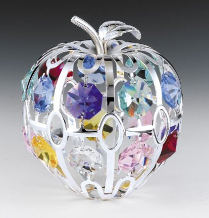 APPLE Silver Plated Swarovski Crystal Ornament Figure