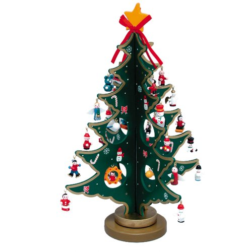 Kurt Adler 11.75″ Wooden Tree with Miniature Wooden Ornaments, 25 Piece Set