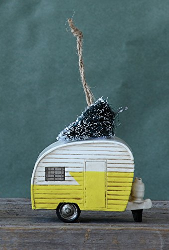 Yellow 3.5 Inch Resin RV Camper with Christmas Tree Ornament