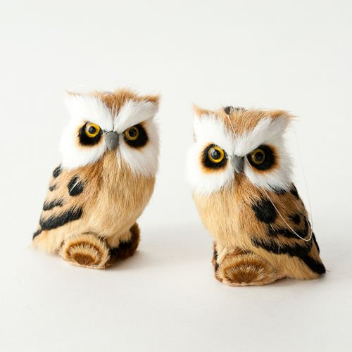 One Hundred 80 Degrees Furry Owl Ornament, Set of 2
