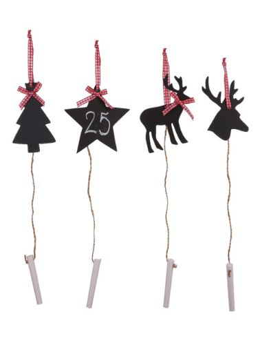 Creative Co-op Chalkboard Ornaments, Set of 4