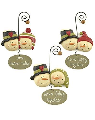 Blossom Bucket Snowmen Ornaments, Set of 3