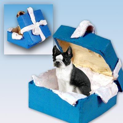 Boston Terrier Gift Box Blue Ornament