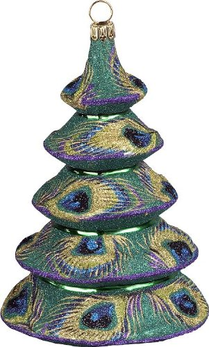 Glitterazzi Peacock Tree Glass Christmas Ornament by Joy To The World Collectibles – 4.5″H.