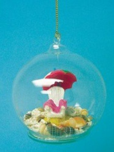 Glass Ball Ornament with Resin Beach Chair, Real Sand and Shells