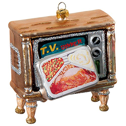 Retro Look Easy Bake Oven and Television TV Set Glass Christmas Ornaments Set/2