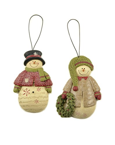 Set of 2 Snowmen with Sweater/Wreath Ornaments