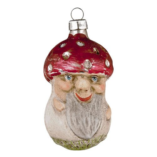 "Vintage mouthblown Christmas Glass ornament ""Fly Agaric with Face"" by MAROLIN® Germany"