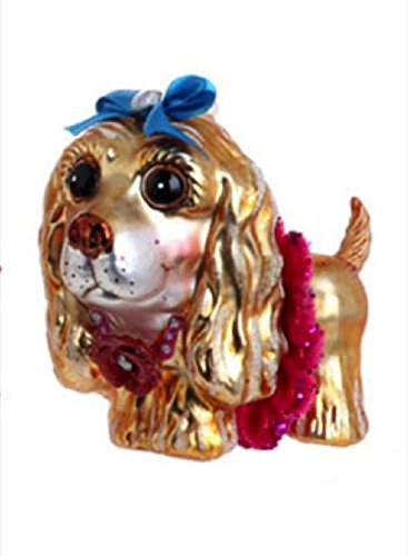 4.5″ Whimsical Glass Cocker Spaniel Pink Collar Christmas Ornament