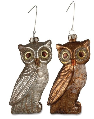 HALLOWEEN large glittered Glass OWL bird Ornaments Set of 2 Bethany Lowe NEW