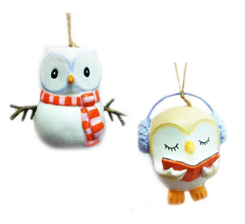 "Set of Two ""Hollywoods"" Glitter Owl snowman & caroler Christmas Tree Ornaments"