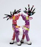 Appletree Design 62018 Magnetic Deer Salt and Pepper Set, 3-1/8 by 6-1/8 by 1-1/4-Inch, Purple and Pink