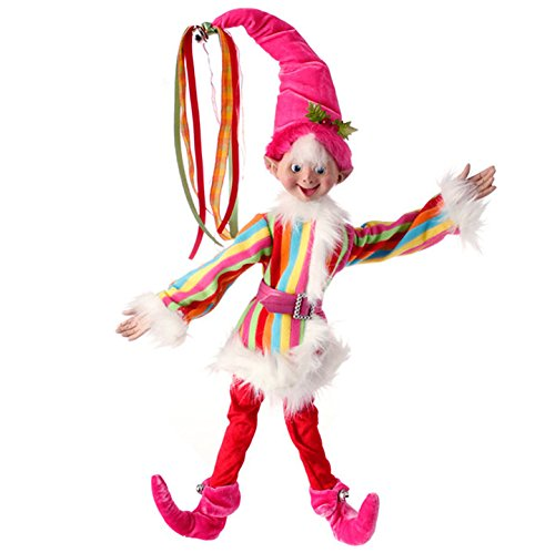 """from RAZ Imports 19″ Rainbow Posable Elf """"Merry and Bright"""" Christmas Collection"""