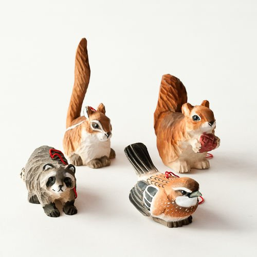 Wood Animal Ornaments Set of 4 By One Hundred 80 Degrees