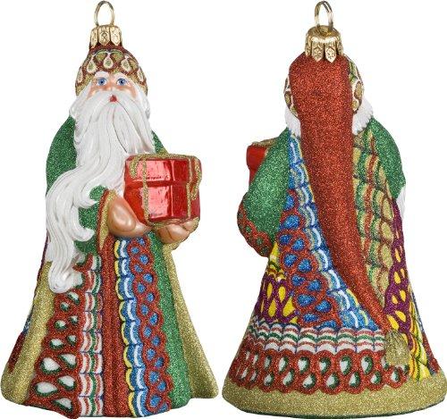 Glitterazzi Ribbon Candy Santa Ornament