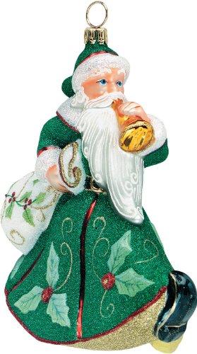 Glitterazzi Trumpeting Santa- Holly Berry Green Ornament