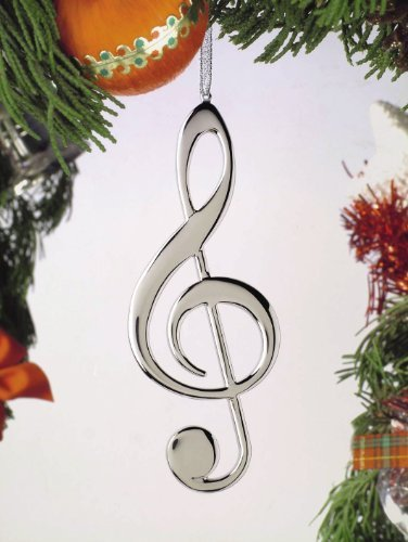Music Treasures Co. Treble Clef Christmas Ornament (Silver)