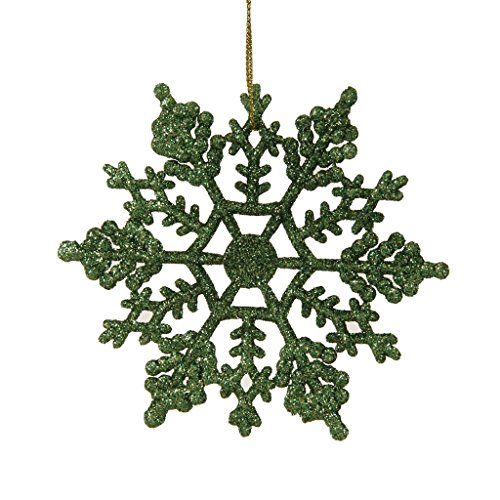 Vickerman 21441 – 4″ Green Glitter Snowflake Christmas Tree Ornament (24 pack) (M101404)