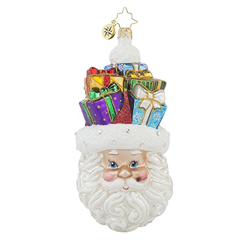 Christopher Radko Christmas on My Mind Santa Glass Christmas Ornament – 5.5″h.