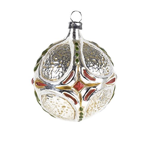 """Vintage mouthblown Christmas Glass ornament """"Ball with Cross Ornament"""" by MAROLIN® Germany"""