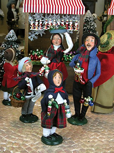 Byers Choice – Glass Christmas Ornament Peddlers – Family of Four – Byers Choice Carolers