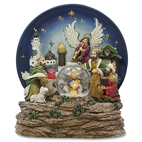 Nativity with Glass Snow Water Globe Religious LED Music Box Figurine
