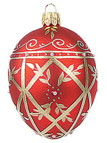 Faberge Inspired Mini Red Decorated Egg Polish Mouth Blown Glass Christmas or Easter Ornament