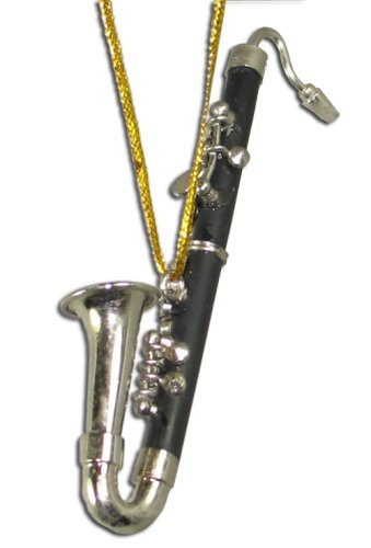 Miniature Bass Clarinet Christmas Ornament 3.125″