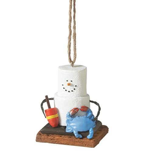 S'mores at Beach with Blue Crab and Buoy Christmas Holiday Ornament Midwest CBK