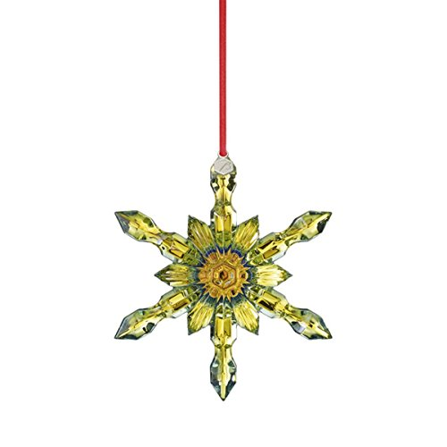Baccarat Crystal Yellow Snowflake Christmas Ornament