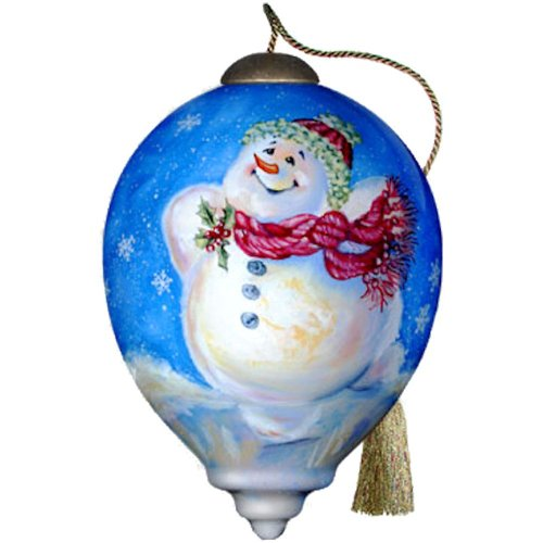 Ne'Qwa Art Snowman on Ice – Glass Ornament Hand-Painted Reverse Painting Distinctive 641-NEQ
