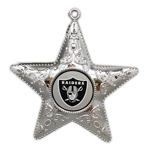 Oakland Raiders 4.5″ Silver Star Ornament