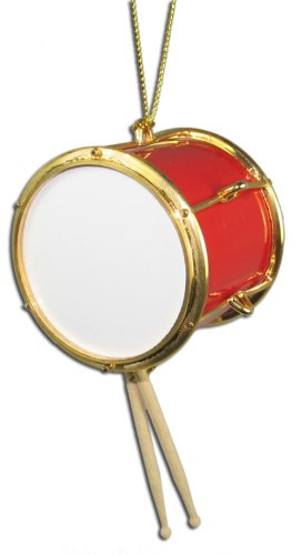 Miniature Red Tenor Drum Christmas Ornament 2″ X 1.75″