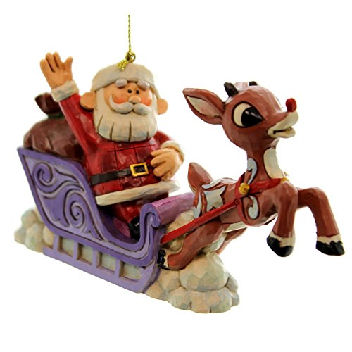 Jim Shore Rudolph with Santa Sleigh Orn Hanging Ornament