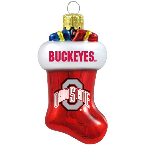 NCAA Ohio State Buckeyes Blown Glass Stocking Ornament