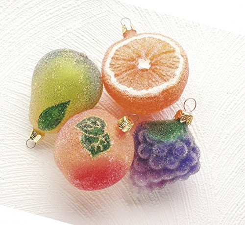 Christinas World Juicy Fruit Polish Blown Glass Christmas Ornament Set of 4