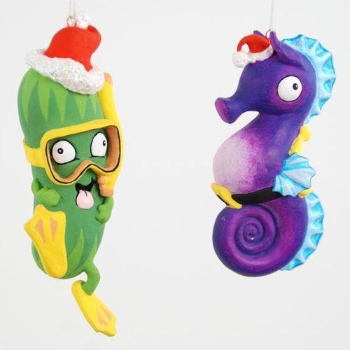 Coastal Santa Seahorse and Scuba Santa Sea Cucumber Christmas Ornament Set of 2