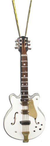 Miniature White Hollow-Body Electric Guitar Christmas Ornament 4″