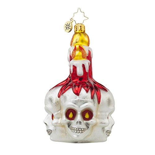 RADKO FRIGHTFUL GLOW Skull Glass Ornament Halloween