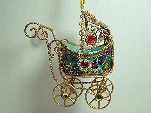 Blue Victorian Rhinestone Jeweled Baby Carriage Baby Shower Christmas Ornament