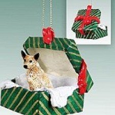 Australian Cattle Red Dog Gift Box Green Ornament