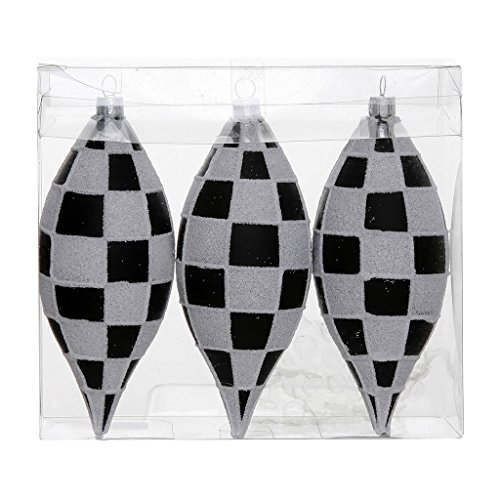 Vickerman 34463 – 4.7″ Black / White Checkered Matte Glitter Drop Christmas Tree Ornament (3 pack) (N142277)